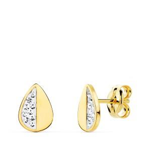 """Pendientes """"Lacrima"""" para niña hechos en Oro 18kt con pequeña piedras transparentes"""