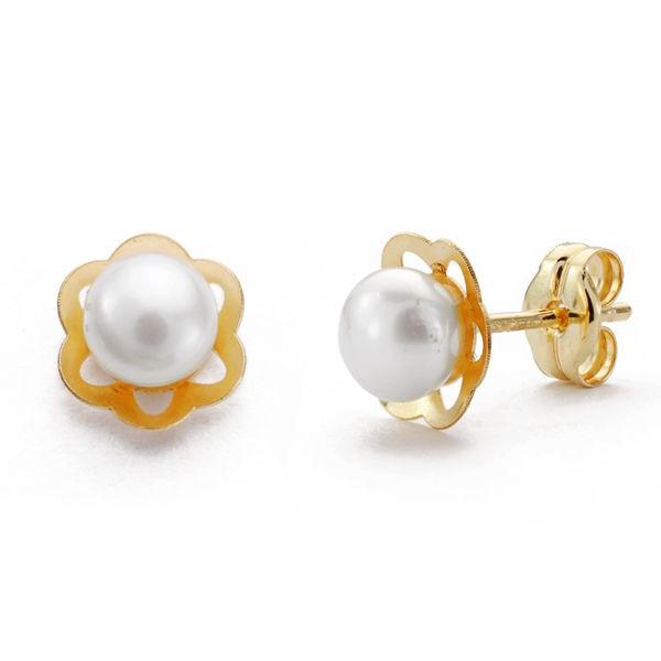 """Pendientes """"Primavera"""" en Oro 18kt con flor calada y perla"""