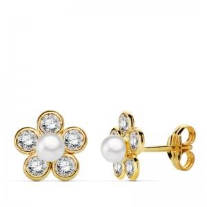 """Pendientes """"Pétali luminosi"""" con perla redonda en Oro 18kt"""
