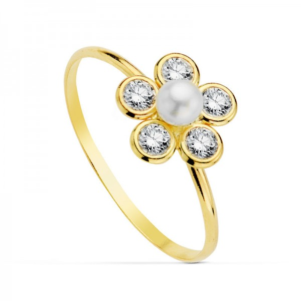 "Sortija ""Pétali luminosi"" con perla flor de circonitas"