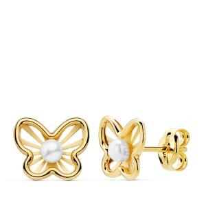 """Pendientes """"Bozze"""" en Oro 18kt con calados en la mariposa y perla en el centro"""