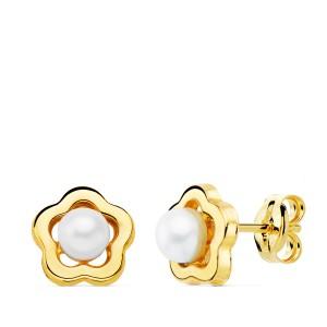"""Pendientes """"Pétali d´ Oro"""" con perla blanca de 4mm"""