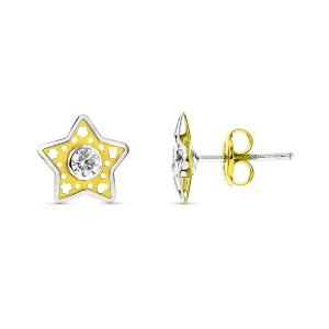 Pendientes de estrella calados en bicolor y hechos en Oro 18kt