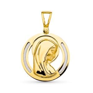 Medalla Virgen Niña Oro 18kt bicolor 19mm