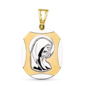 Medalla Virgen Niña Oro 18 KT bicolor 24 X 17 mm.