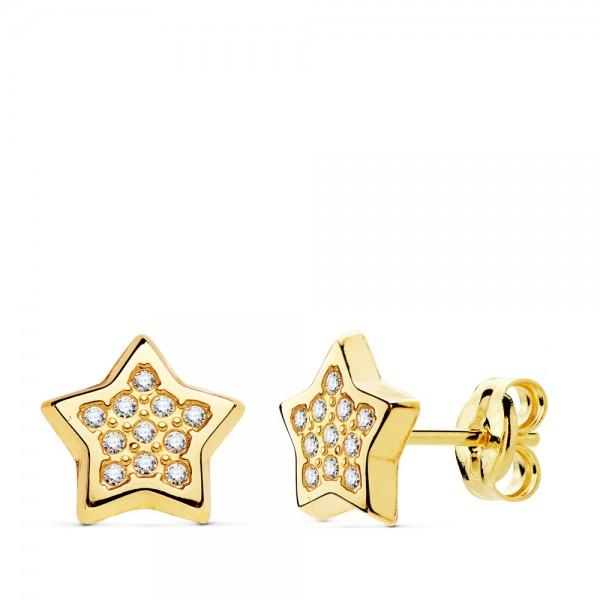 Pendientes de Estrellas con circonitas de Oro 18kt
