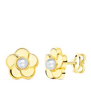 Pendientes Niña Flor con perla Oro 18kt