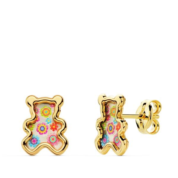 Pendientes pequeños de Oro 18kt con forma de osito con nacar multicolor