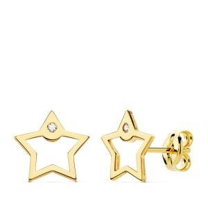 Pendientes pequeños de Oro 18kt con forma de estrella