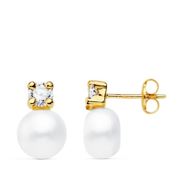 Pendientes de Oro 18Kt con perla y circonita en garra