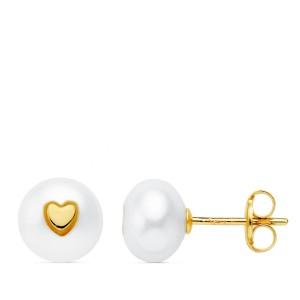 Pendientes niña de perla con corazón en Oro de 18Kt