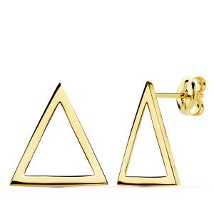 Pendientes de Oro 18kt lisos en forma de triangulo