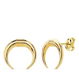 Pendientes de Oro 18kt lisos con forma de cuernos