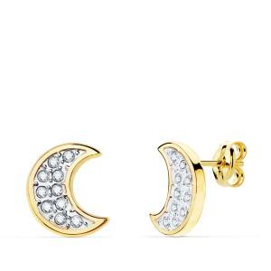 Pendientes bicolor de Oro 18kt con circonitas forma de luna.