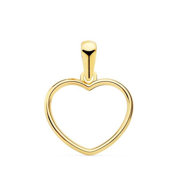 Colgante 18kt minimal calado con diseño de corazon.