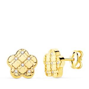 Pendientes pequeños Oro 18k con circonitas en forma de flor
