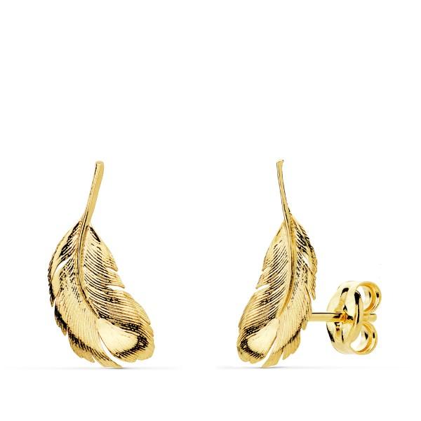 Pendientes Oro 18kt con forma de pluma