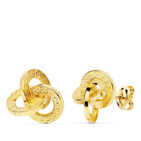 Pendientes de Oro 18kt en forma de nudo con dibujo de greca
