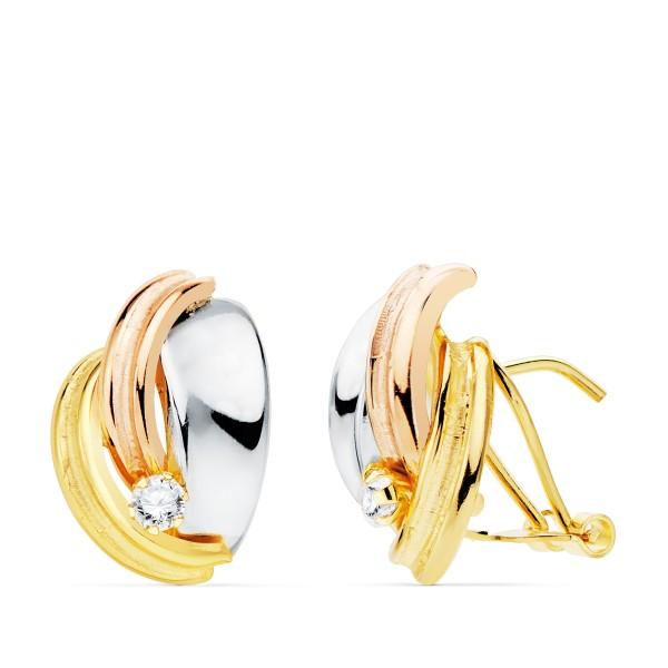Pendientes tricolor de Oro 18kt con circonitas y cierre omega