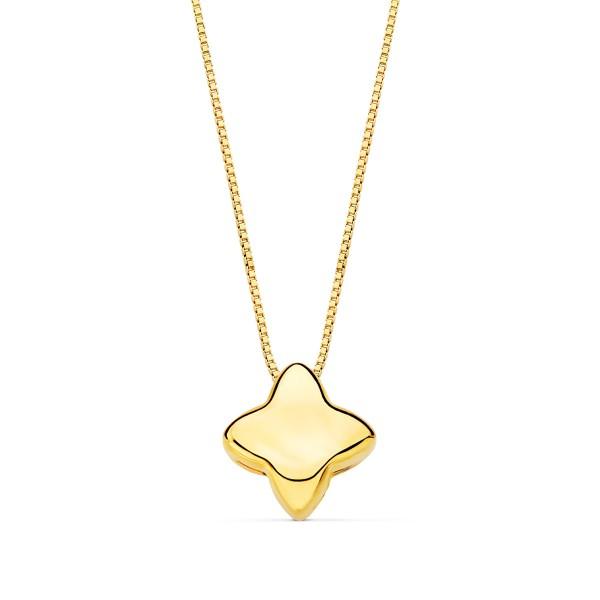 Gargantilla con colgante de estrella liso y cadena veneciana Oro 18kt