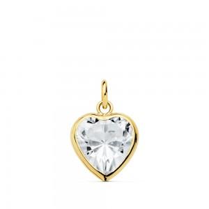 Colgante de Circonita en forma corazon con orla de Oro 18kt.