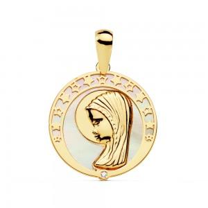 Medalla redonda con borde de estrellas y Virgen Niña en Oro 18kt 17mm