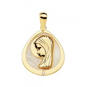 Medalla de Oro 18kt con Virgen Niña rodeada de nácar 18 x 16mm