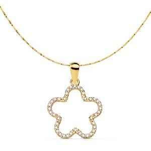 Colgante de estrella con circonitas en cadena veneciana Oro 18kt