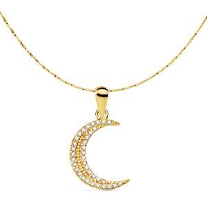 Colgante de luna con circonitas en cadena veneciana de Oro 18kt