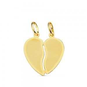 Colgante Corazón dos partes en Oro de 18Kt -15mm