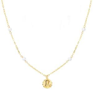 Gargantilla Oro 18kt de 40 cm con perlas y medalla Virgen Niña 18mm.