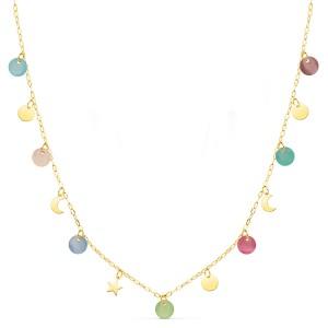 Gargantilla de Oro 18kt con chapitas, charms y piedras multicolor con cadena forzada.