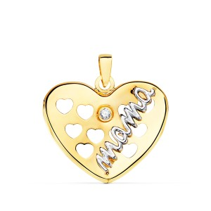Colgante Corazón Mamá con circonita en Oro Amarillo y Blanco de 18Kt