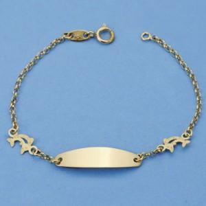 Esclava con delfines calados en Oro de 18 Kt -13 cm