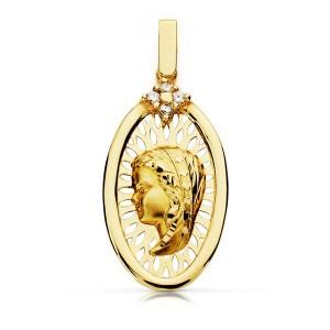Medalla oval Virgen calada 29 x 14mm