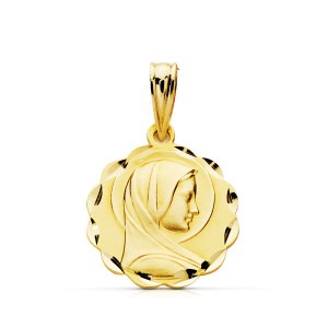 Medalla Virgen Niña Oro 18kt calada 16 X 14mm