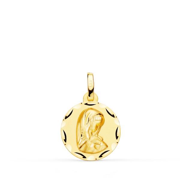 Medalla Virgen Niña Oro 18kt 14mm Bisel
