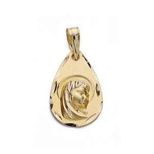 Medalla Virgen Niña Oro 18kt lágrima 19 x 12mm