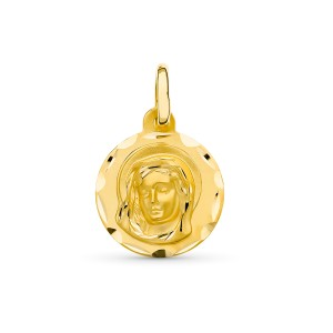 Medalla Virgen Niña Oro 18 KT 14 mm.