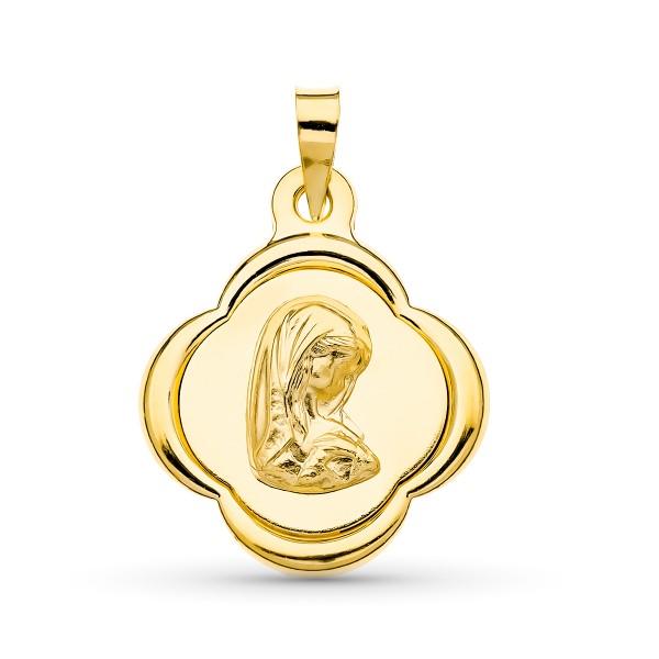 Medalla Virgen Niña Oro 18kt 23 x 19mm