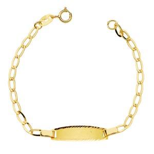 Esclava de Oro de 18 Kt con cadena Bilbao para bebé -13 cm
