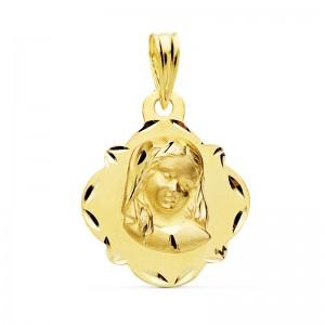 Medalla Virgen Niña Oro 18kt 19 X 16mm
