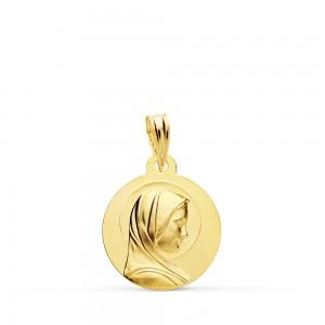 Medalla redonda con Virgen de perfil en Oro 18kt -16mm