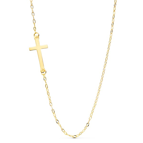 Gargantilla con Cruz Oro 18kt con cadena forzada