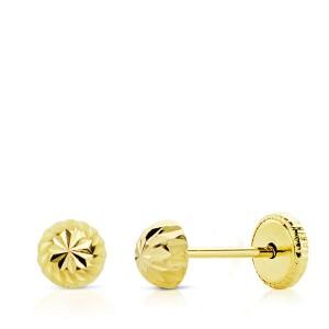 Pendientes Bebé Oro 18Kt media bola tallada -4mm
