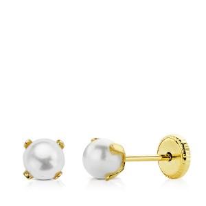 Pendientes de Perlas de 4mm con garras Oro 18kt
