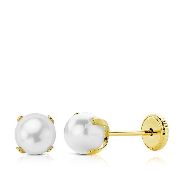 Pendientes de Perlas de 5mm con garras Oro 18kt