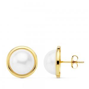 Pendientes clasicos de media perla Oro 18kt