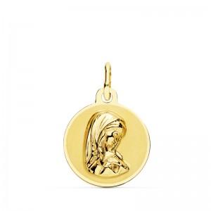 Medalla Virgen Niña Oro 18kt brillo y mate 14mm