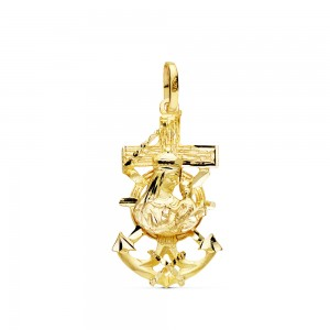 Cruz Marinera de Oro 18kt con Virgen del Carmen 27x15mm